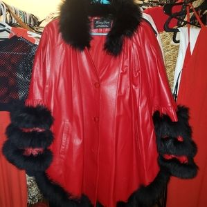 Genuine Leather and Fox Fur oversized Shaw/ coat